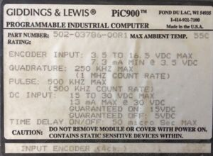 Giddings Lewis Plcs Pic900 Input Encoder 4 Channels 502 03786 00 R1