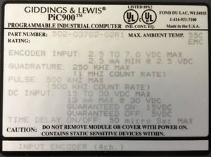 Giddings Lewis Plcs Pic900 Input Encoder 4 Channels 502 03782 02 R1