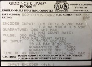 Giddings Lewis Plcs Pic900 Input Encoder 4 Channels 502 03786 02 R2