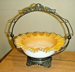 Lovely Wilcox Victorian Silver Heart Brides Basket Peach Blow Silvercrest Glass
