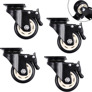 4x 3 Heavy Duty Steel Plate Metal Swivel Casters Wheel Industrial Dual Locking