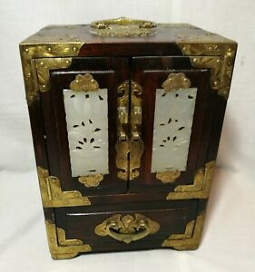 Vintage Chinese Wooden Wedding Jewellery Box Inlaid White Jade Brass With Lock