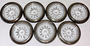 Set Of 7 Vintage Frank M Whiting Co 925 Sterling Silver Rim Crystal Coasters