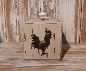 Sale Primitive White Painted Wooden Box Rooster Farmhouse Country Home Decor