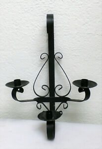 Black Medieval Wrought Iron Wall Sconce 3 Votive Candle Holders