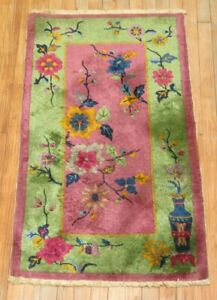 Antique Chinese Art Deco Rug Size 2 3 X3 10