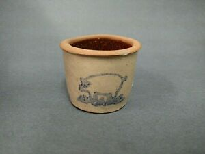 Vintage Blue Decorated Pig Miniature Stenciled Stoneware Crock