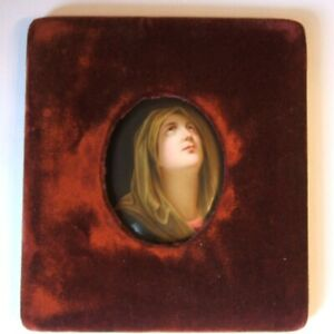 Antique Painted Porcelain Plaque Mater Dolorosa After Guido Reni With Frame