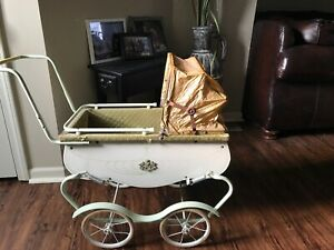 Vintage Antique Baby Doll Carriage Stroller Buggy Mint Green Cream