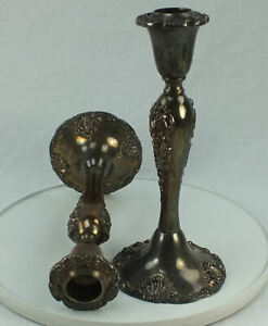 Vintage Pair Godinger Silver Arts Company 8 Silver Plated Candle Stick Holders