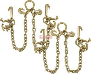 2 Pack G70 V chain Bridle W Rtj Cluster Hooks And Grab Hooks 2 Legs Tow Cha