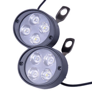 2x Motorcycle Headlight Spot Fog Front Lights 6 Led Head Driving Lamp 12v 85v