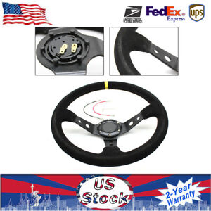 Universal 350mm Suede Leather Stitch Deep Dish Sport Racing Car Steering Wheel