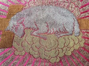 47 Antique French Embroidery On Silk Silver Thread Xix Religious Lamb