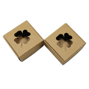 Four Leaf Clover Hollow Brown Kraft Paper Box Wedding Crafts Party Gift Package