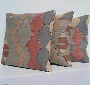 Cushion Pillows Hand Woven Turkish Kilim Rug Square Wool Gray Area Rugs 18 X18