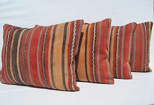 Couch Turkish Pillows Red Rectangle Wool 20 Hand Woven Kilim Area Rugs 24 X18