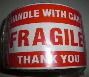Fragile Handle With Care Thank You 3x5 Red Sticker 10 20 50 100 500 Labels