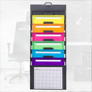 Wall Mount File Holder Organizer Cascading Hanging Paper Folder Desk Home Office
