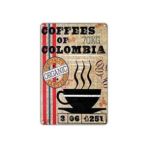 Coffees Of Colombia Wall Decor Art Shop Man Cave Bar Vintage Retro Metal Sign