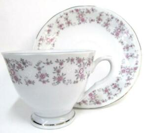Purple Floral Pattern Silver Accents Made In China Teacup And Saucer Ss2