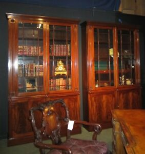A Pair Of 19th Century Antique Mahogany Bookcases