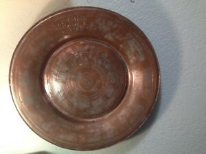 Antique Marked C 1800 Islamic Copper Zinc Tray Plate Charger Persian Turkish