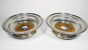 Antique Elkington Mason Co Silver Plated Wine Coaster Pair 1850s English
