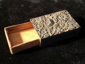 S Kirk And Son Sterling Silver Repouse Floral Match Box Holder