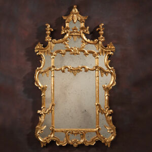 Magnificent Frascaro Chippendale Carved Wood Mirror Gold Leaf Pagoda Design