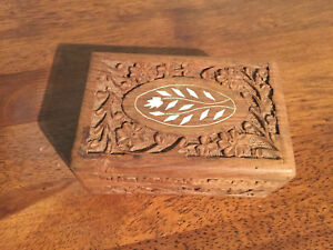 Wood Box Primitive Hand Carved With Inlay