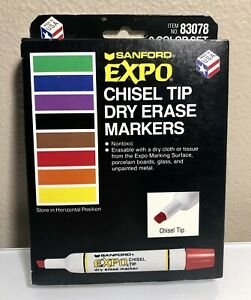 Vintage New Sanford Expo 8 Color Chisel Tip Dry erase Markers 83078 Usa Mint