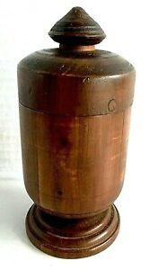 Vintage Treenware Domestic Wooden Lidded Hand Turned Pedestal Container