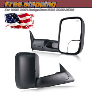 For 1998 2001 Dodge Ram 1500 2500 3500 W Power Heated Towing Side View Mirrors