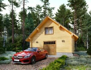 Log Garage Kit Lh_bg 80 Eco Friendly Wood Prefab Diy Building Cabin Home Modular