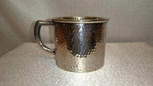 Antique Benedict Silver Plate Hammered Childs Mug Cup