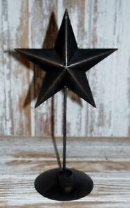 Primitive Country Black Tin Star 12 Tapered Candleholder Sconce