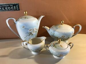 Tirschenreuth Tea And Coffee Set Cream Sugar Hp Vtg German Porcelain
