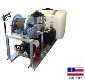 Pressure Washer Commercial Skid Mounted Hot Water 4 Gpm 200 Gallon Tank