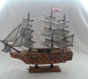 9 X9 Inch Tall Wood Hms Victory Ship Sailboat Model On Display Stand