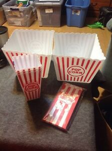 25 Popcorn Bags Set 3 Small Plastic Containers And 2 Large Popcorn Containers