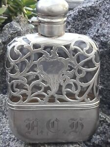 Antique Ornate Sterling Silver Heavy Overlay On Glass Flask Alvin 1907