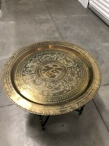 Brass Tray Table Metal Folding Feet Made In Hong Kong Vintage