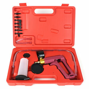 Hand Held Vacuum Pressure Pump Brake Bleeder Tester Tool Kit W Adapters For Car