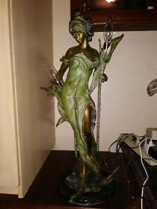 Vintage P Rocha Limited Edition 11 100 Bronze Lady Lamp Statue