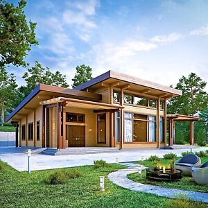 Laminated Log House Kit Eco Friendly Wood Prefab Diy Building Cabin Home Glulam