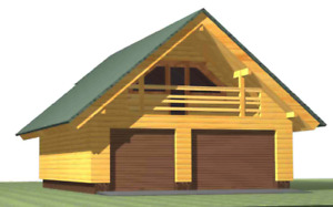 Log Garage Kit lh_bg 117 Eco Wood Prefab Diy Building Cabin Home Modular