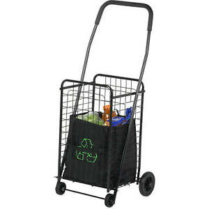 Folding Shopping Cart Jumbo Size Basket With Wheels For Laundry Travel Grocery W