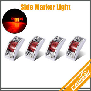 4 Red 12led Chrome Armored Clearance Lights Side Marker For Truck Trailer Rails