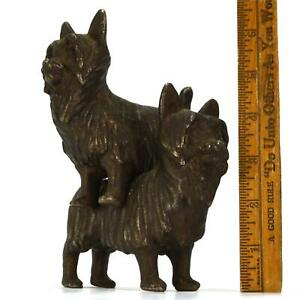 Vtg Antique Cast Iron Bookends 4 X5 6 Lb Pair Of Quality Terrier Dogs Hubley